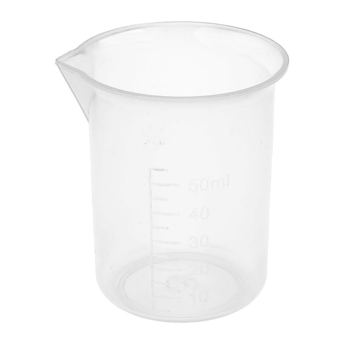 Lab Laboratory Chemistry Graduated Clear Plastic Water Liquid Measuring Container Testing Beaker 50mL