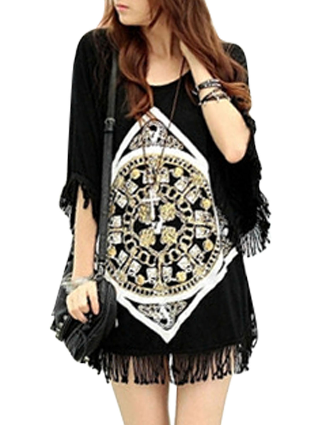 Women Batwing Sleeve Tassels Clock Prints Tunic Top Black XS