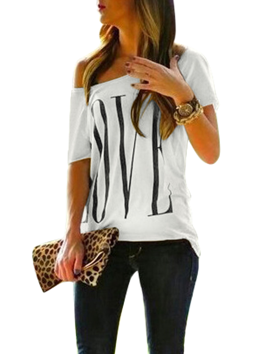 Ladies One Shoulder Short Sleeves Letters Prints Casual Shirt White S