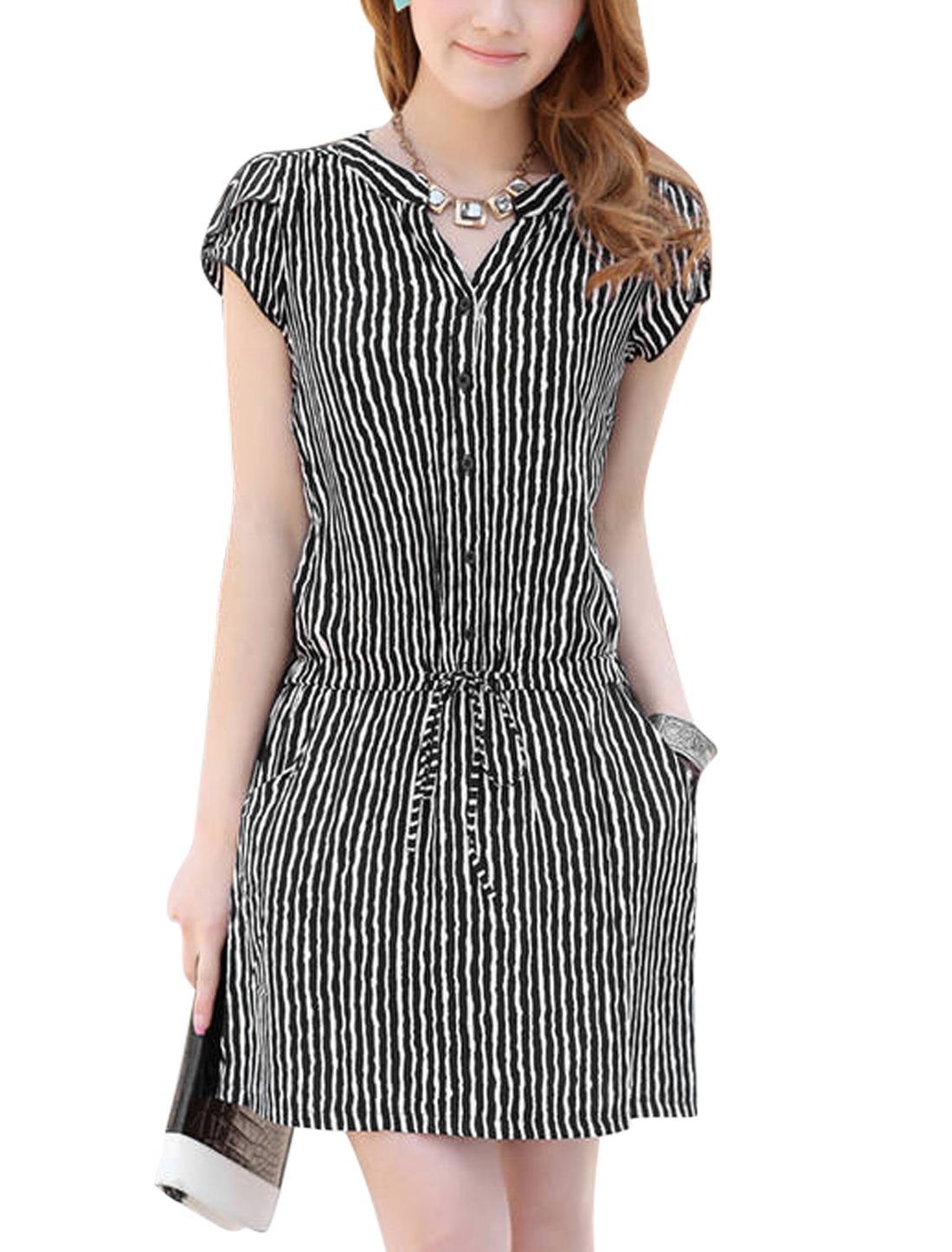 Ladies Short Sleeve Stripes Button Closed Upper Shirt Dress Black XS