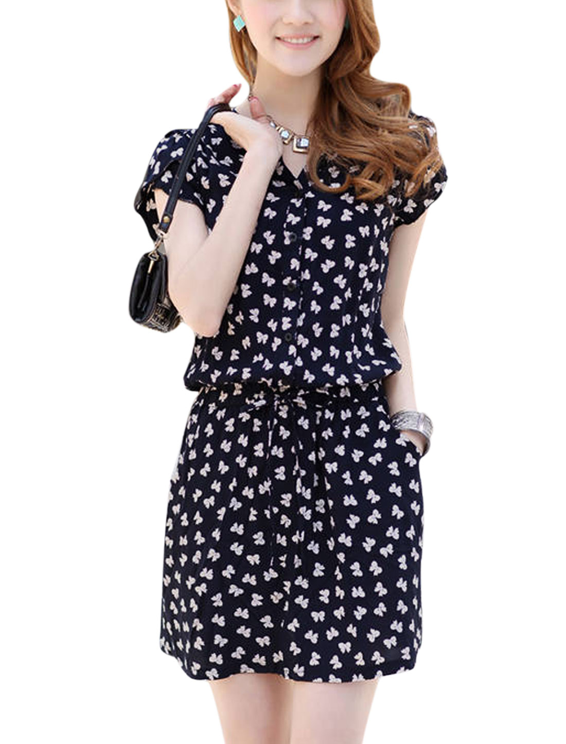 Women Stand Collar Short Sleeves Bowknot Prints Casual Dresses Navy Blue XS