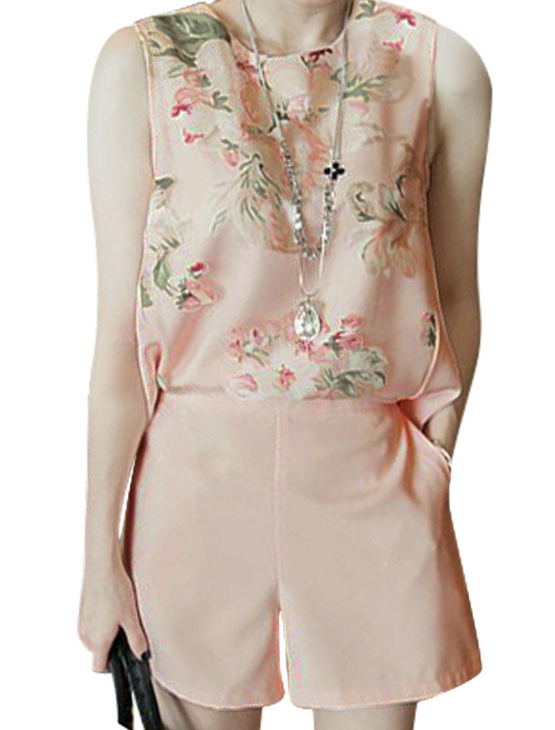 Women Round Neck Floral Print Organza Panel Pockets Playsuit Pink XS