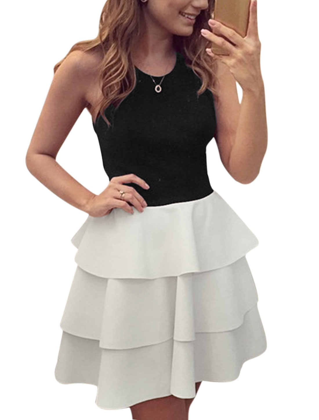 Women Round Neck Crossover Back Sleeveless Tiered A Line Dress Black White S