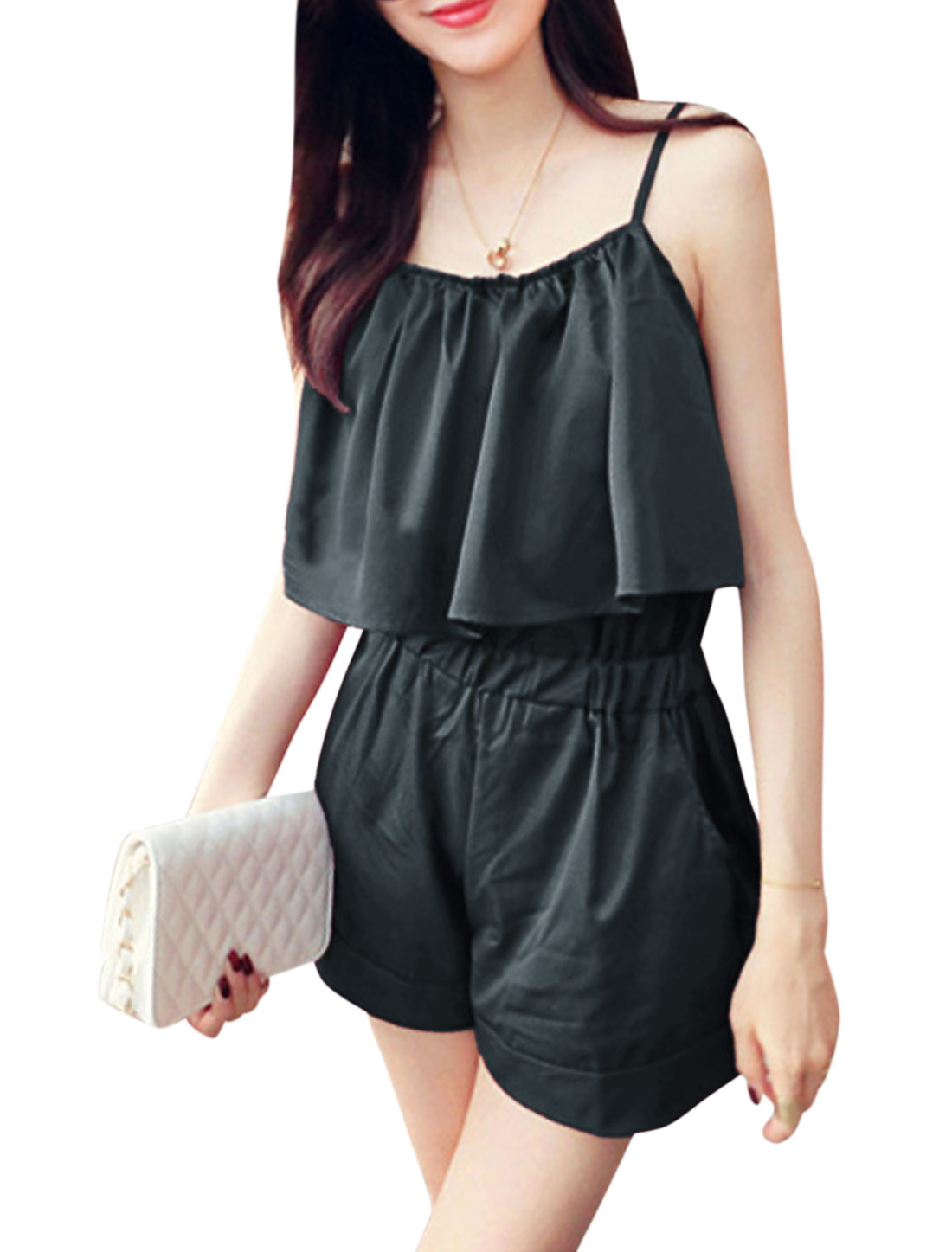 Women Elastic Waist Cape Decor Pockets Casual Summer Rompers Dark Gray XS