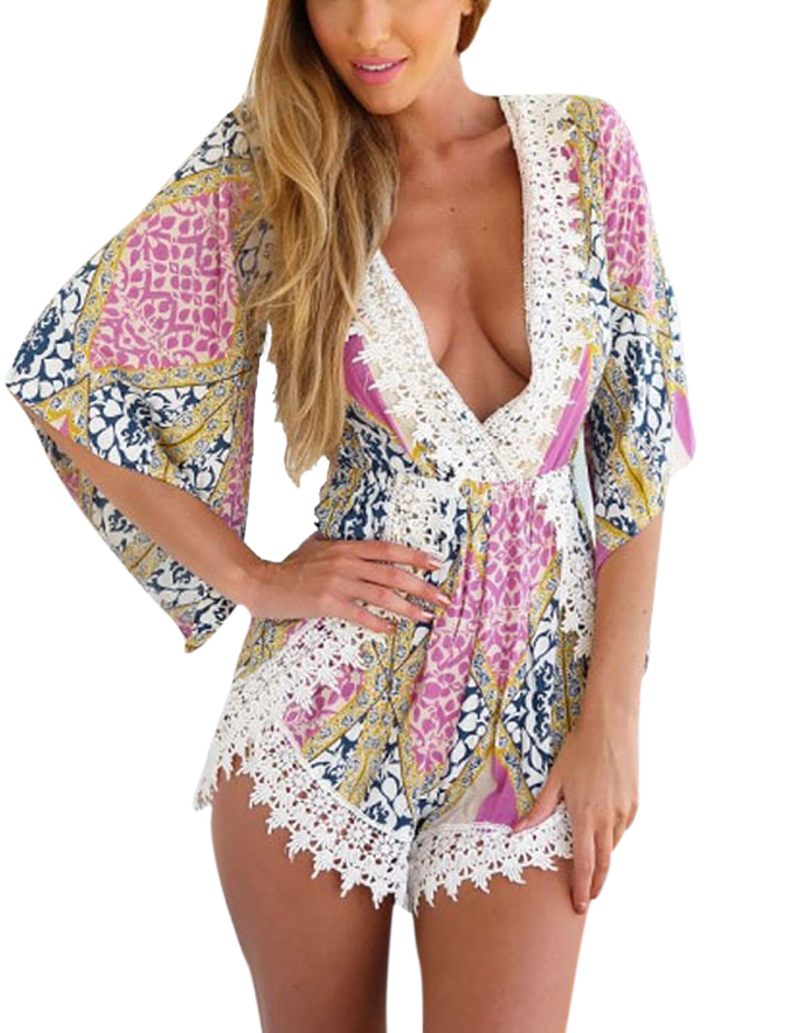 Woman Novelty Prints Crossover V Neck Crochet Design Panel Romper Pink S