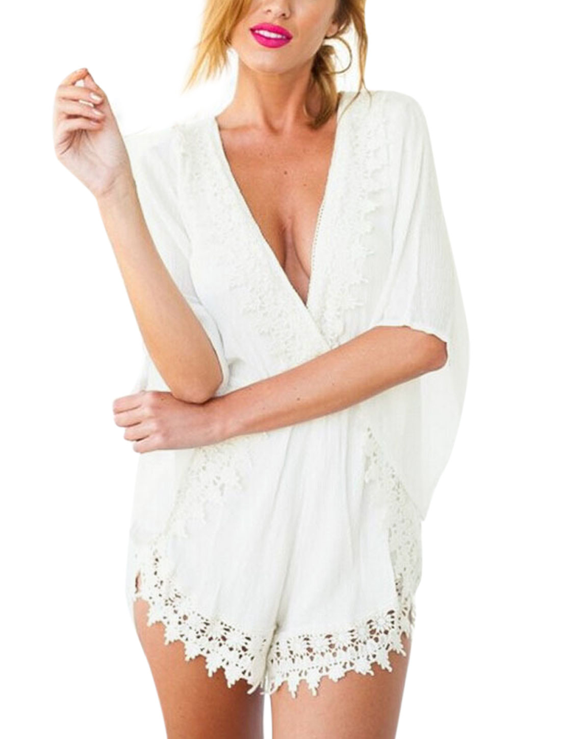 Woman Crochet Design Crossover V Neck 3/4 Sleeves Panel Sexy Romper White M