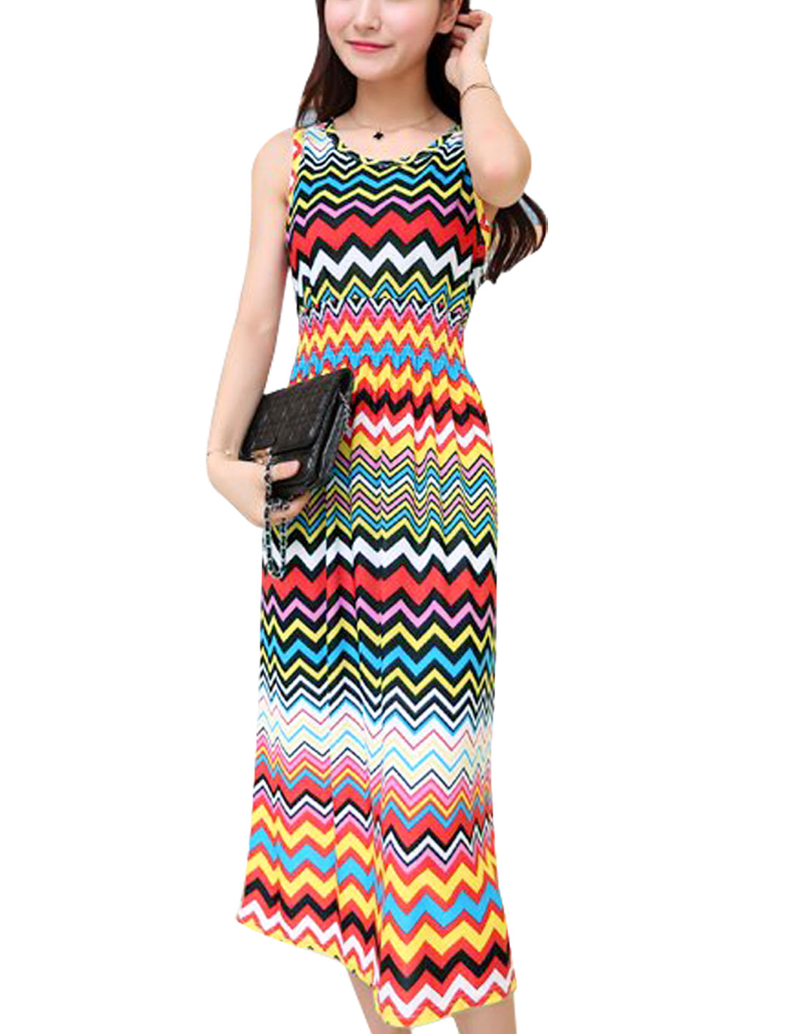 Women Round Neck Sleeveless Zig-Zag Pattern Unlined Midi Dress Multicolor XS