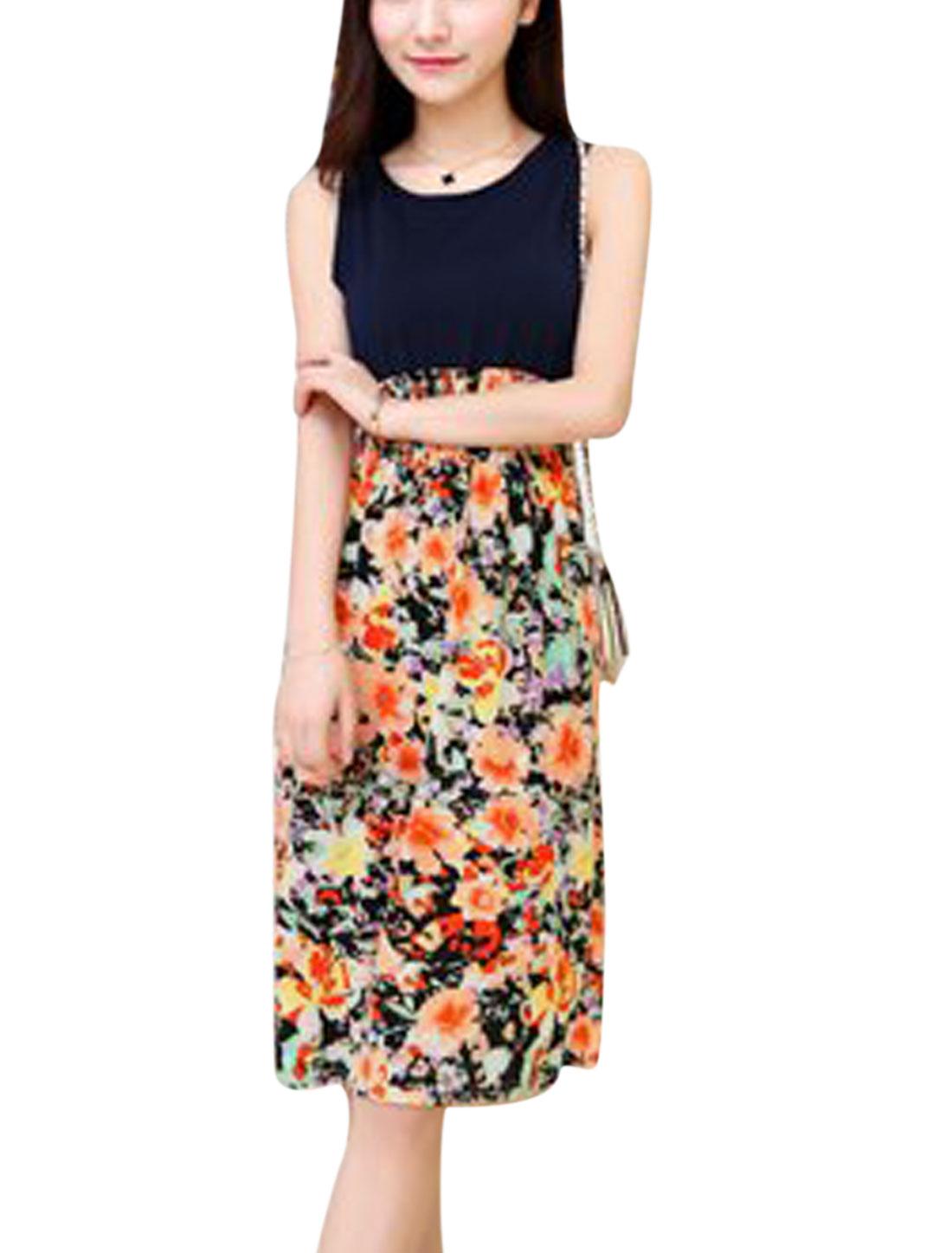 Woman Floral Prints Sleeveless Elastic Waist Summer Dress Navy Blue XS