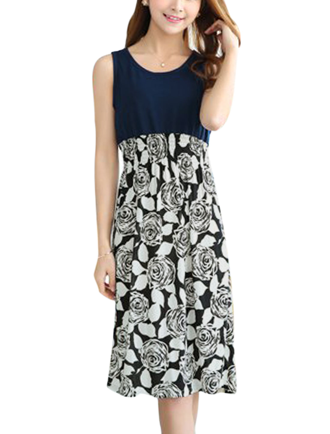 Woman Roses Pattern Round Neck Sleeveless A Line Dress Navy Blue White XS