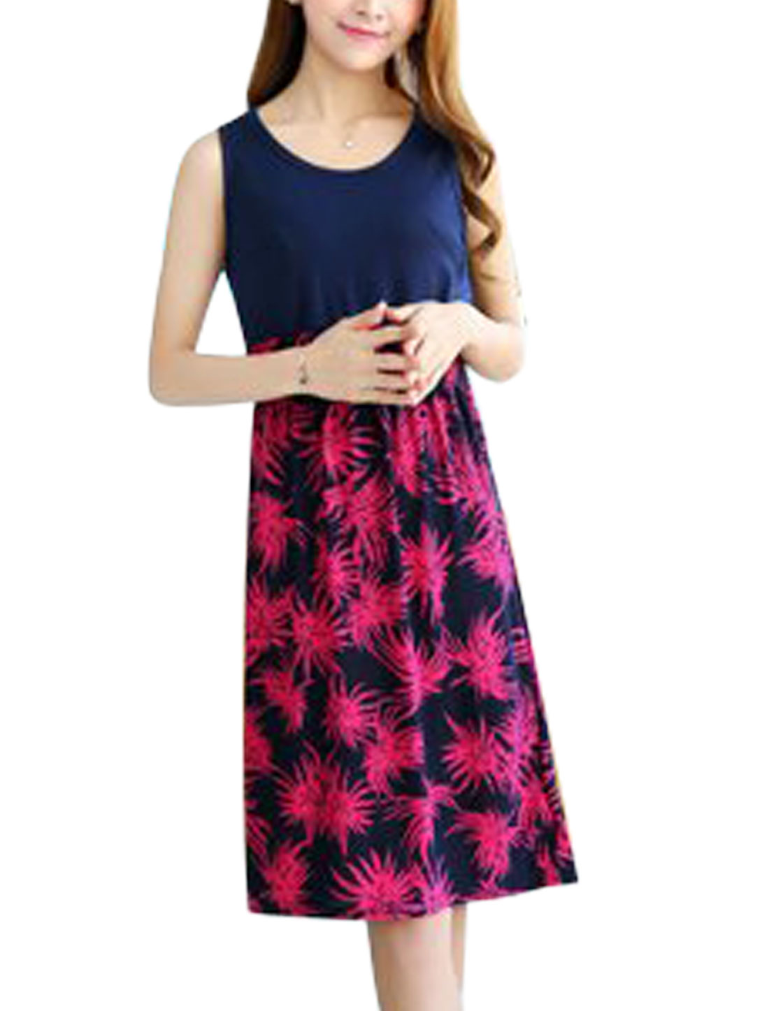 Lady Leaves Pattern Sleeveless Elastic Waist Summer Dress Navy Blue Fuchsia XS