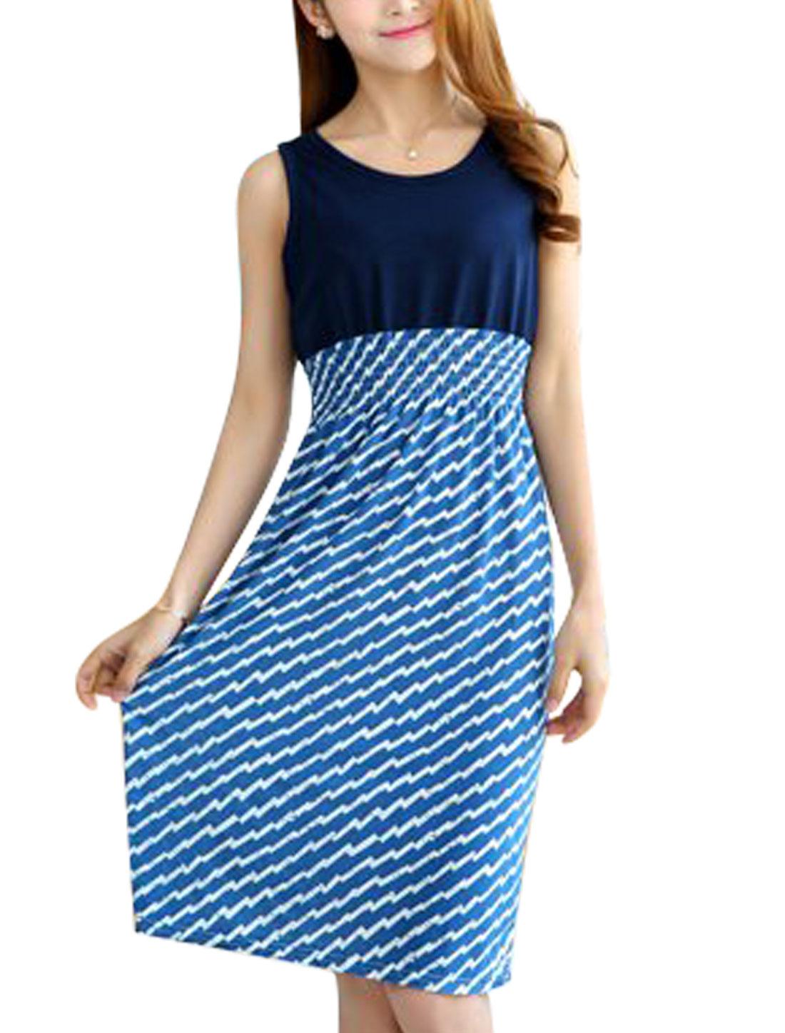Woman Sawtooth Pattern Round Neck Sleeveless Elastic Waist Dress Blue White XS