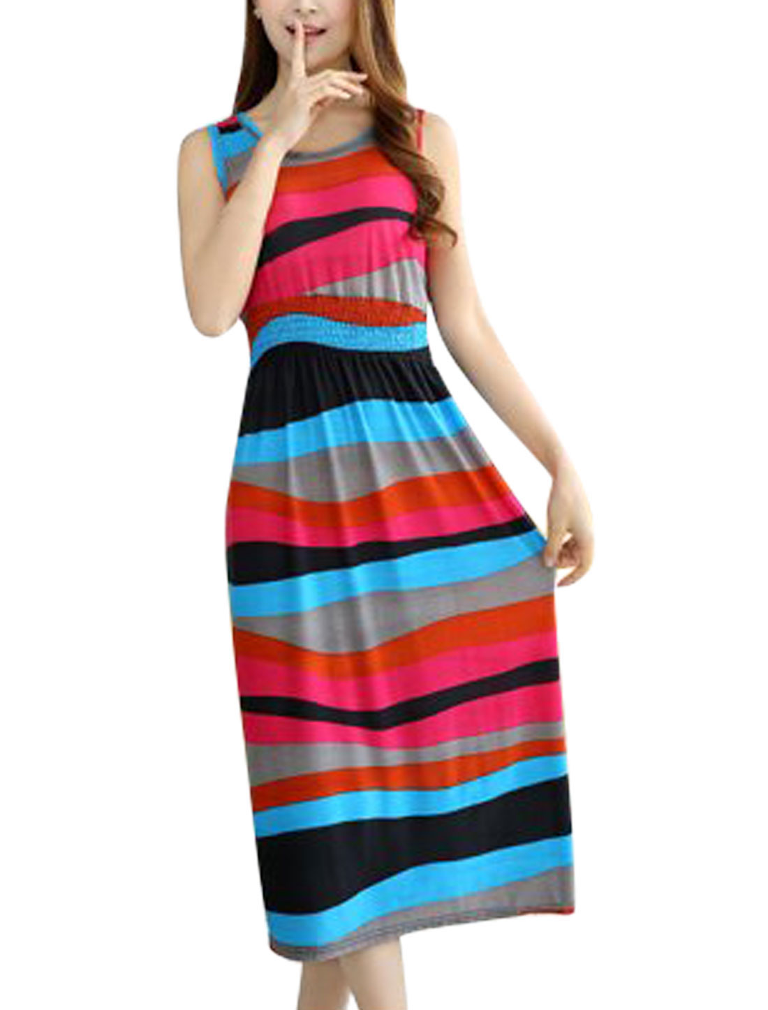 Woman Stripes Round Neck Sleeveless Elastic Waist Summer Dress Multicolor XS