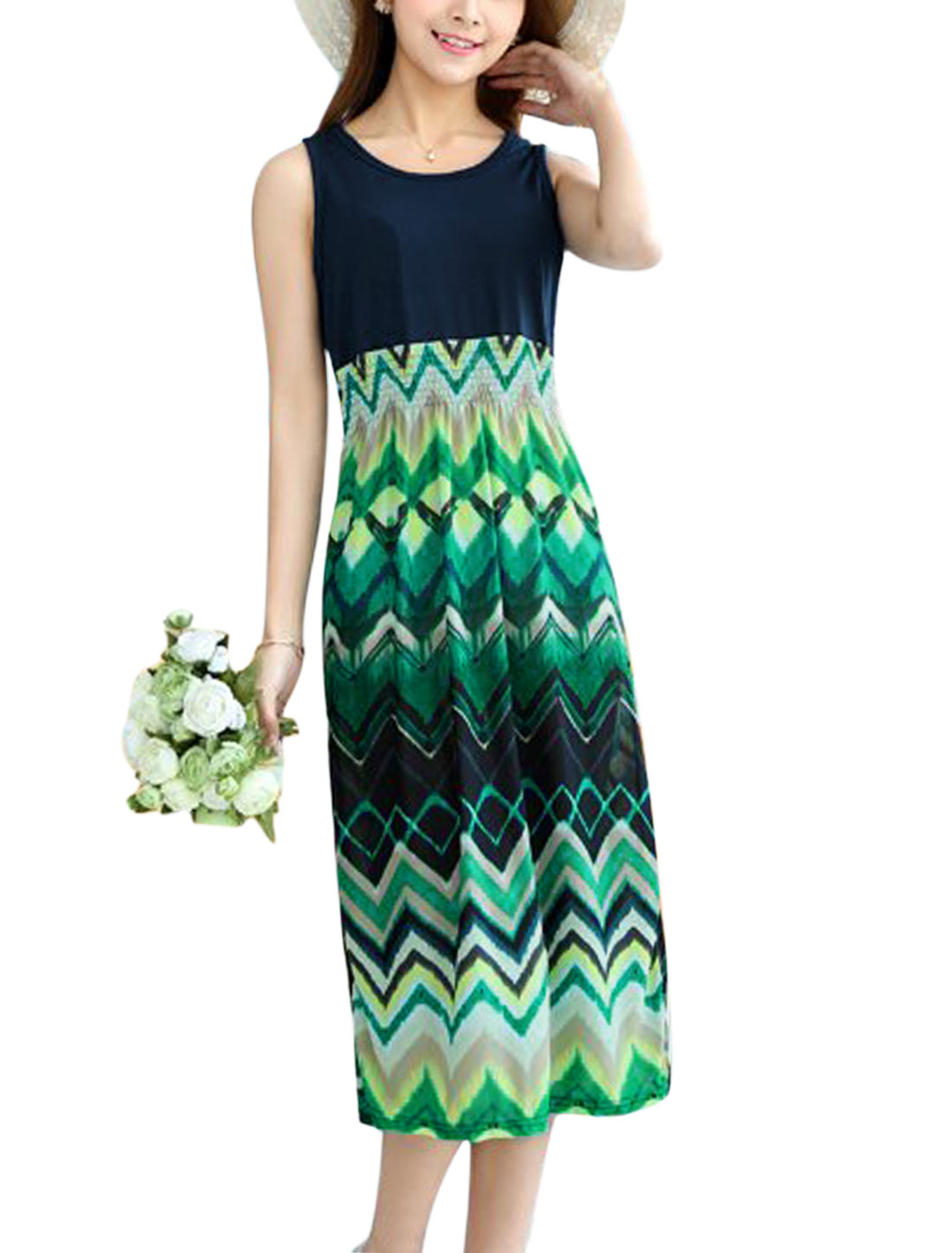 Ladies Round Neck Zigzag Print Summer Dresses Sea Green Navy Blue XS