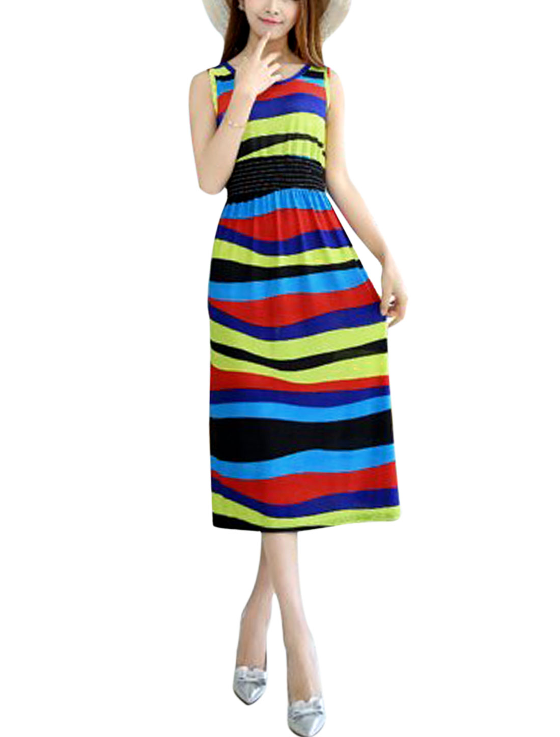 Women Round Neck Elastic Waist Stripes Print Beach Dress Multicolor XS