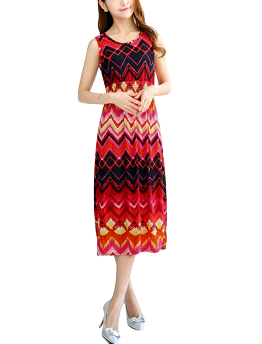 Ladies Round Neck Elastic Waist Zigzag Print Sundress Fuchsia Black XS