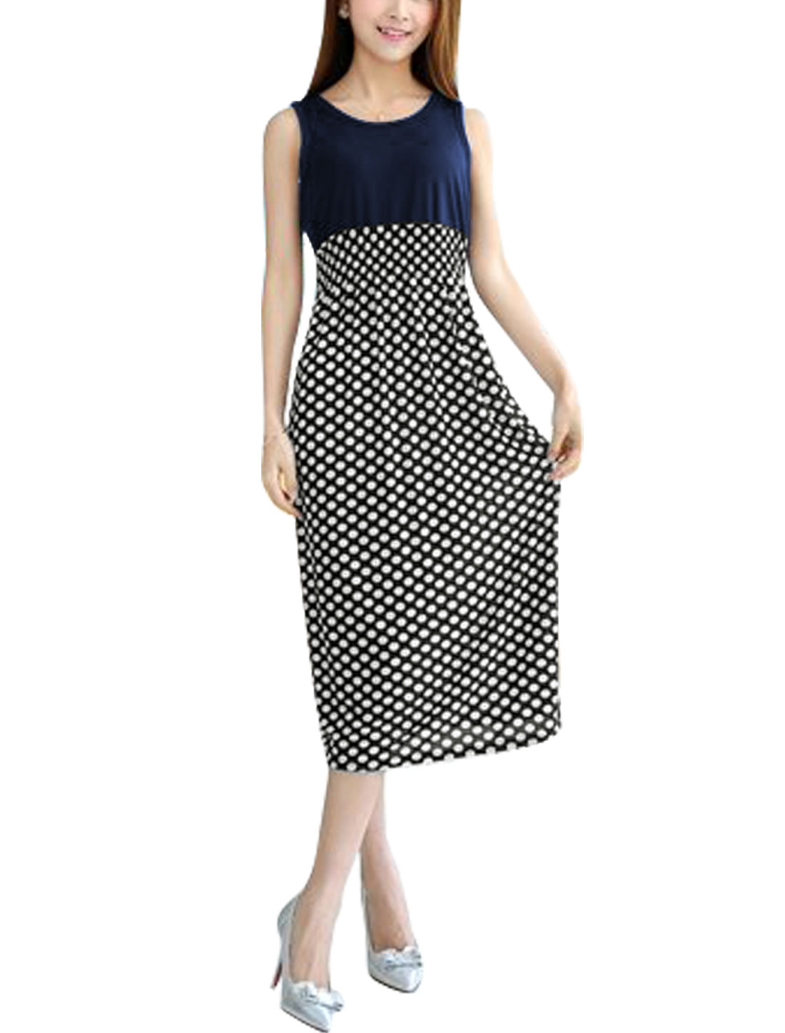 Women Sleeveless Dots Prints Smocked Waist Unlined Midi Dress Navy Blue Black XS