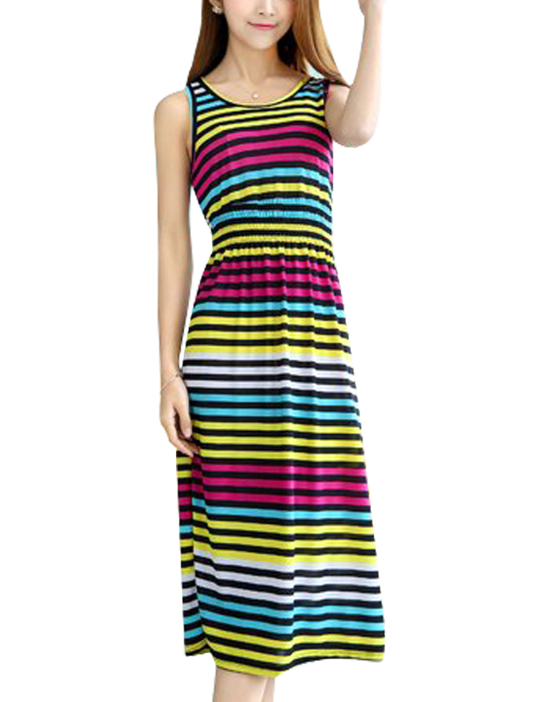 Ladies Horizontal Stripes Sleeveless Smocked Waist Midi Dress Multicolor XS