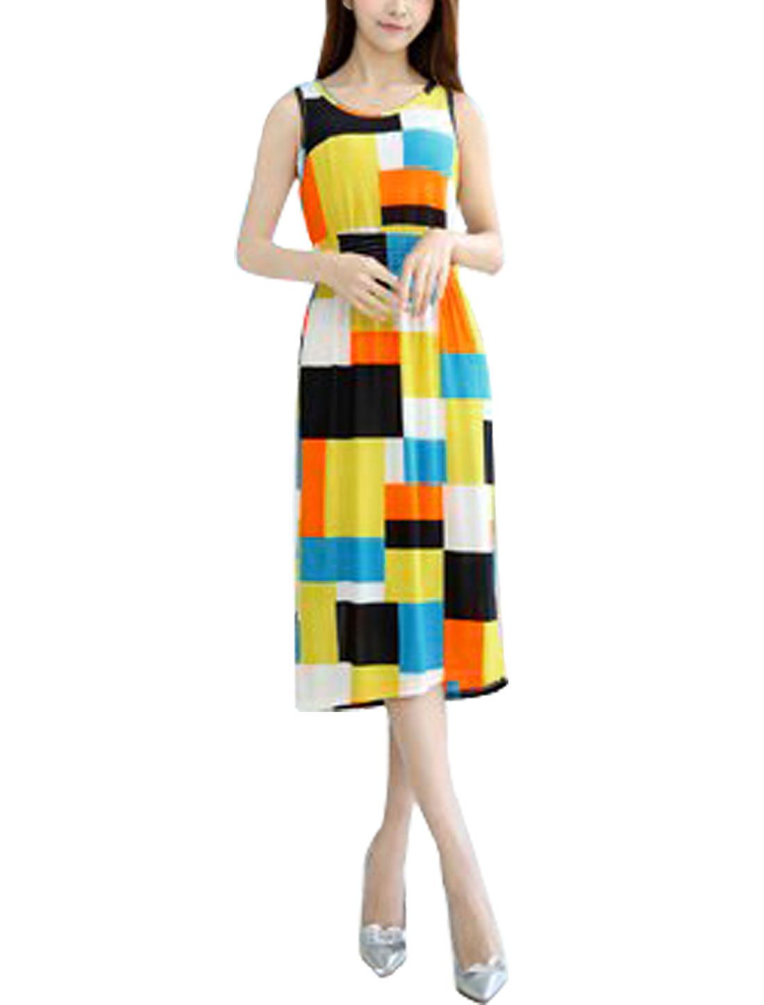 Women Round Neck Color Block Smocked Waist Unlined Midi Dress Multicolor XS