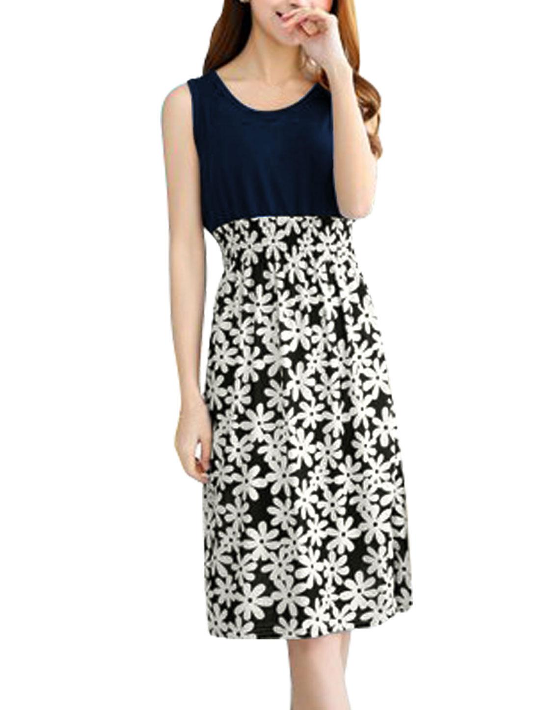 Women Round Neck Sleeveless Flower Prints Unlined Midi Dress Navy Blue Black XS