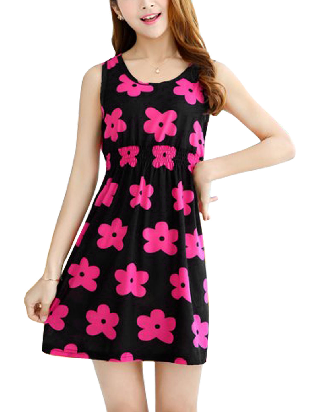 Lady Sleeveless Flower Prints Elastic Wasit A-Line Dress Black Fuchsia XS