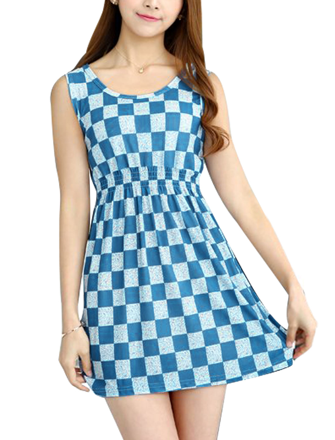 Women Sleeveless Checks Novelty Prints Unlined A Line Dresses Blue White XS