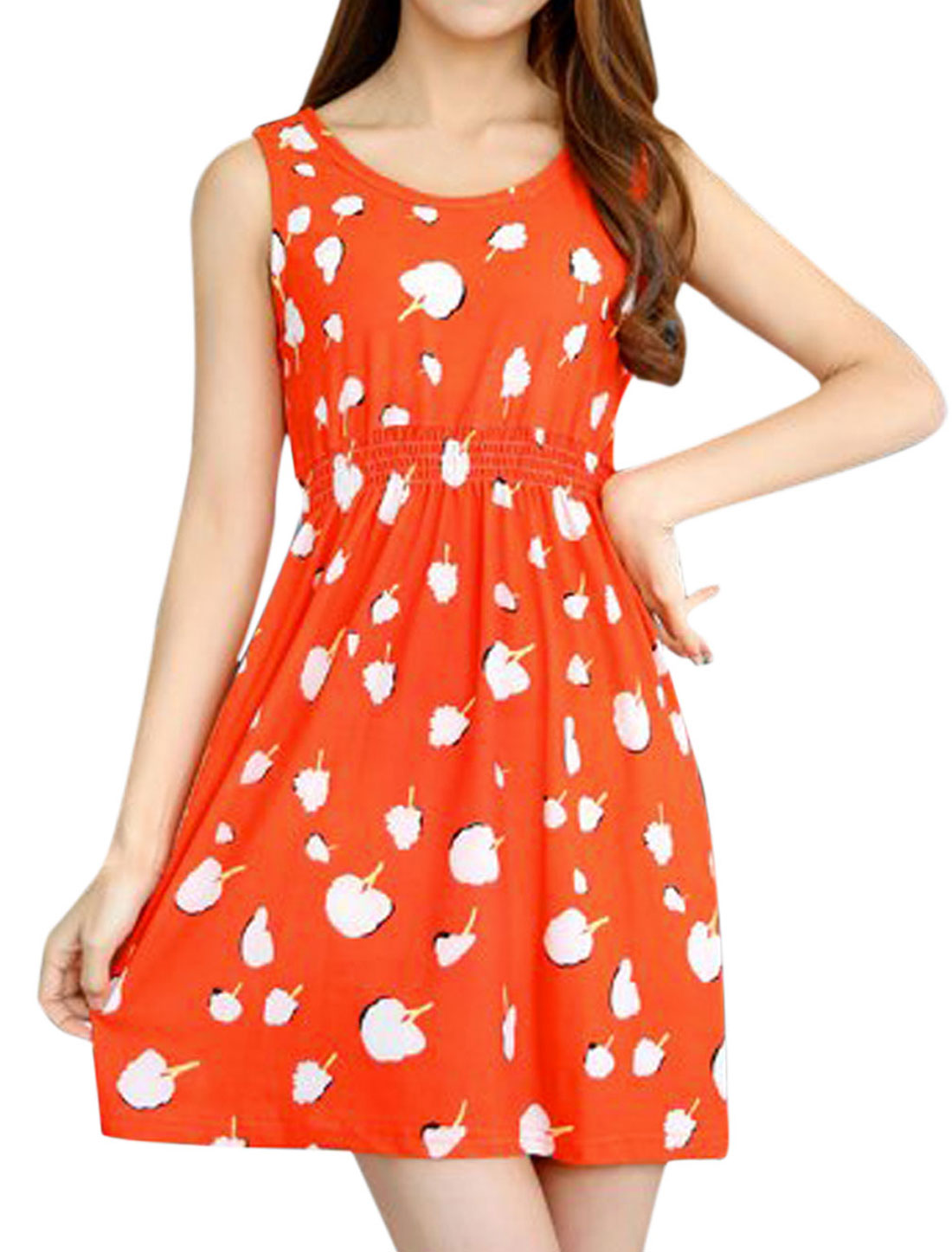Woman Fruit Pattern Sleeveless Elastic Waist Unlined A Line Dress Orange XS
