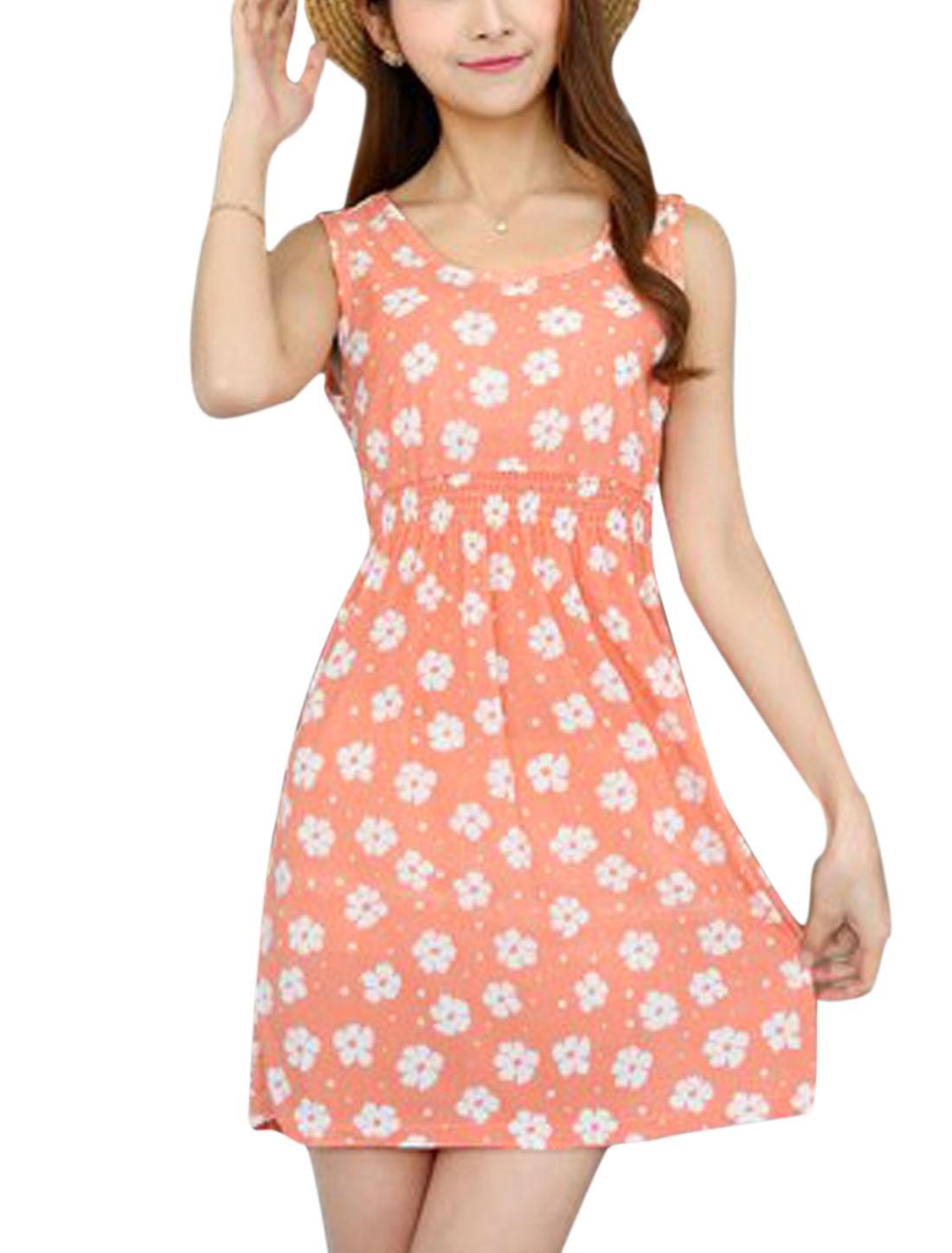 Ladies Round Neck Elastic Waist Floral Print Summer Dresses Pale Pink XS
