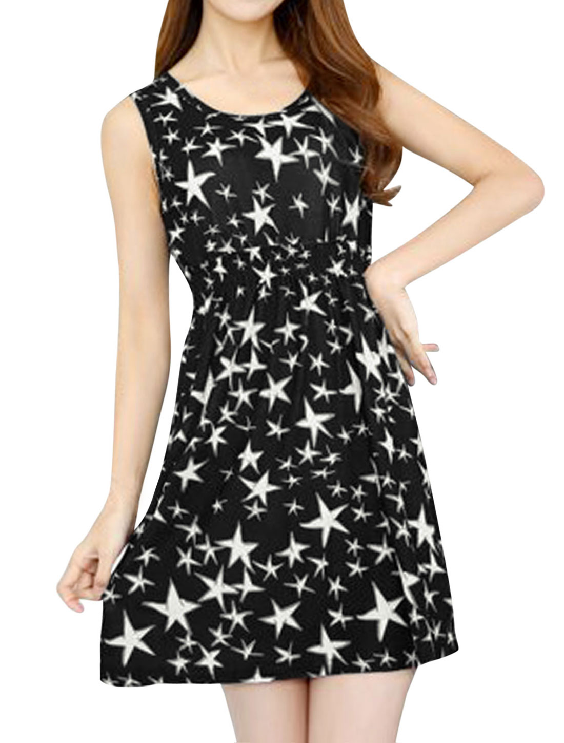 Ladies Sleeveless Round Neck Stars Print Mini Dress Black White XS