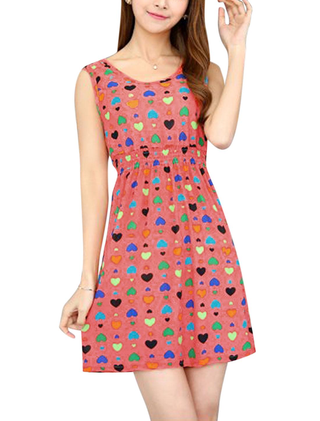 Women Round Neck Elastic Waist Hearts Print Mini Dress Pale Red XS