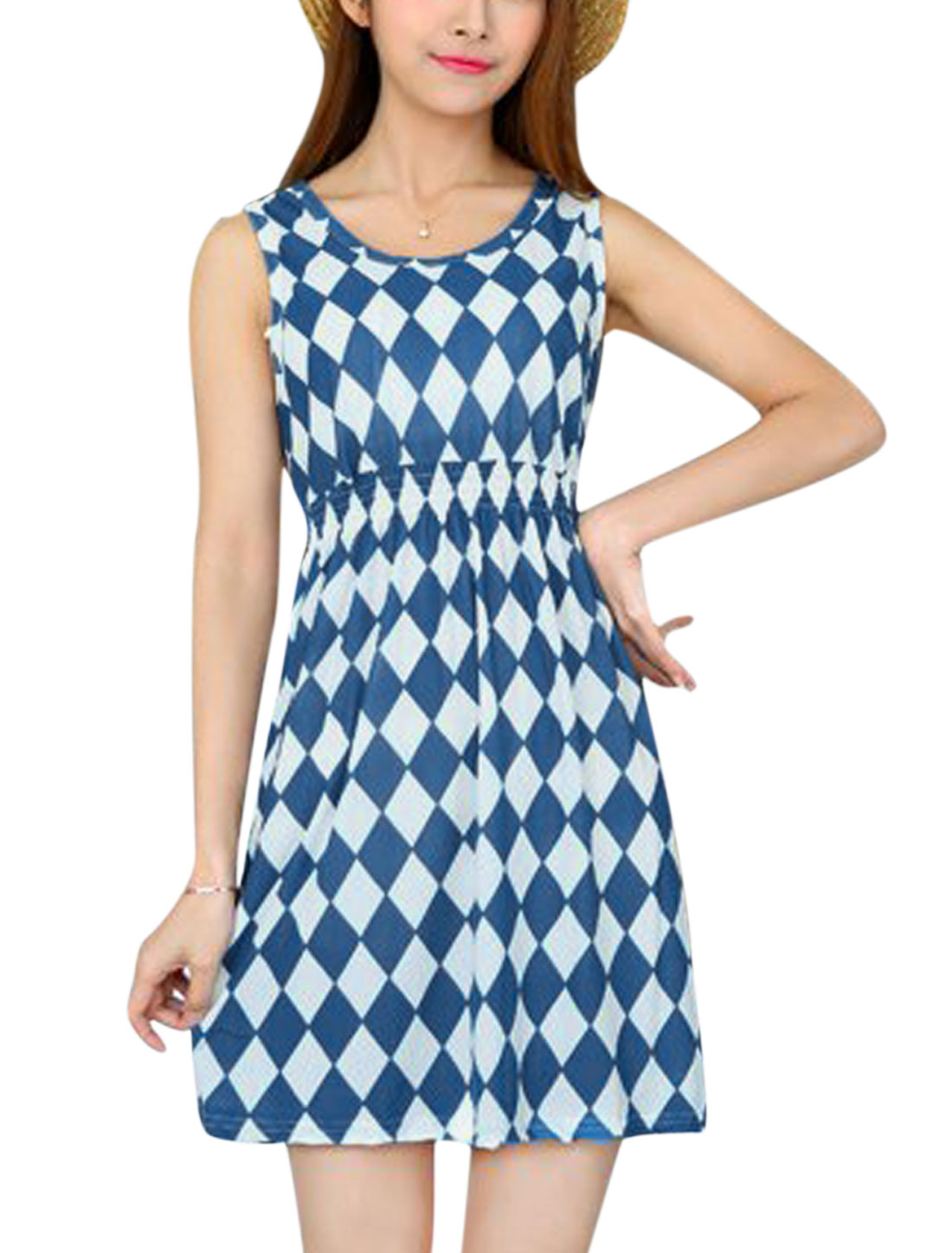 Ladies Argyle Pattern Round Neck Sleeveless A Line Mini Sundress Blue White XS