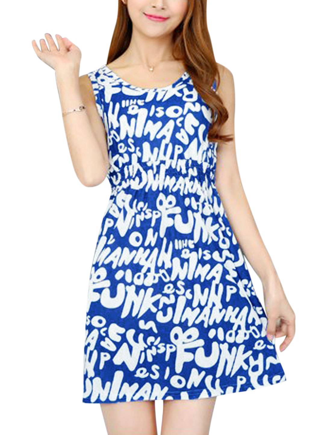Ladies Round Neck Elastic Waist Letters Print Summer Dress Royal Blue White XS