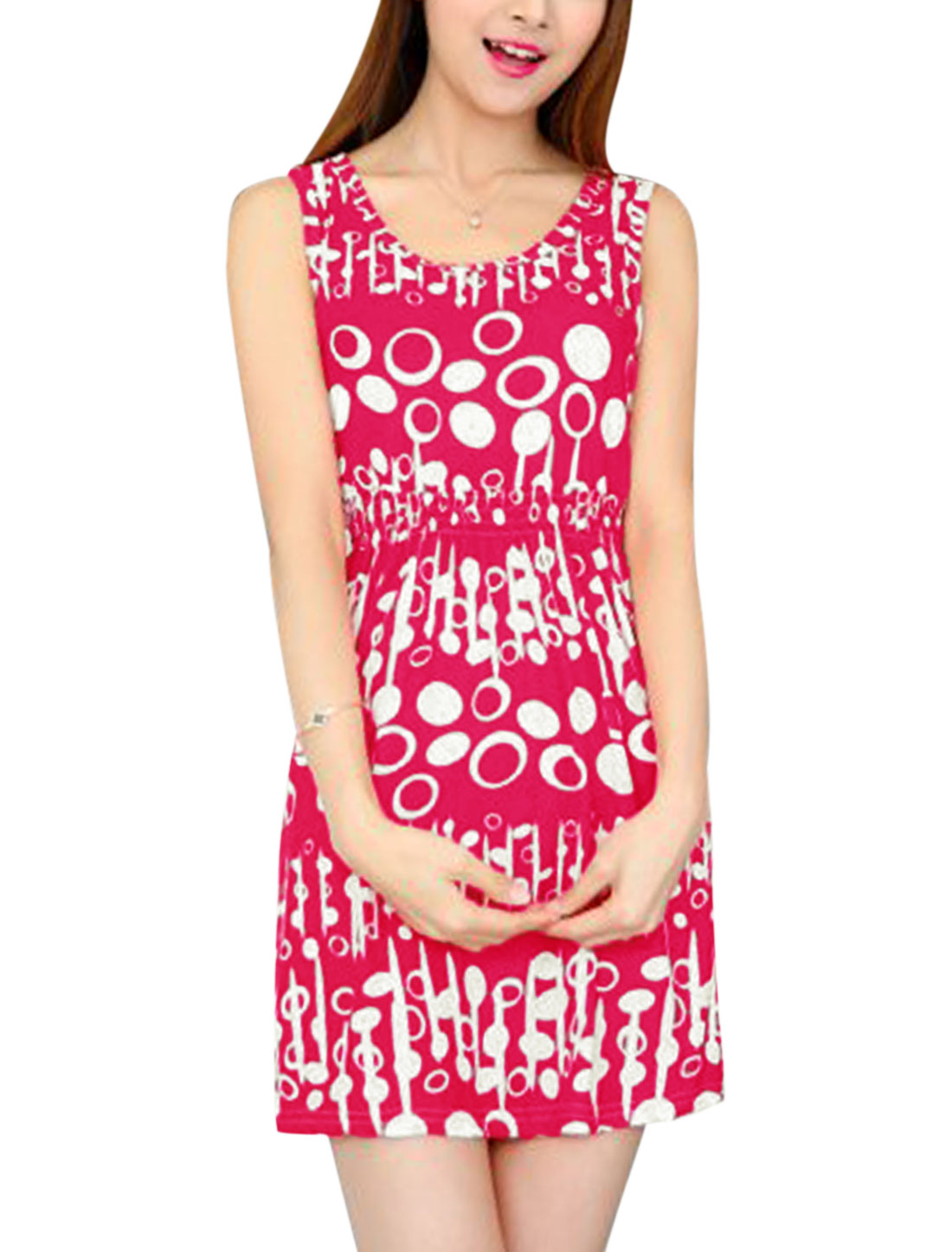 Ladies Sleeveless Round Neck Elastic Waist Novelty Print Beach Dress Pale Red XS