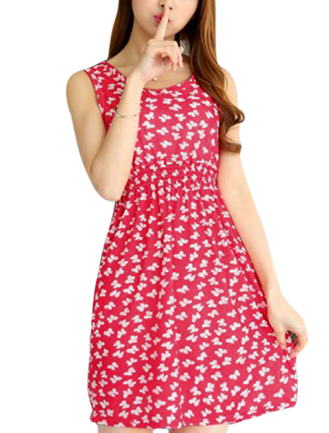 Woman Bowknot Pattern Round Neck Summer A Line Dress Fuchsia XS