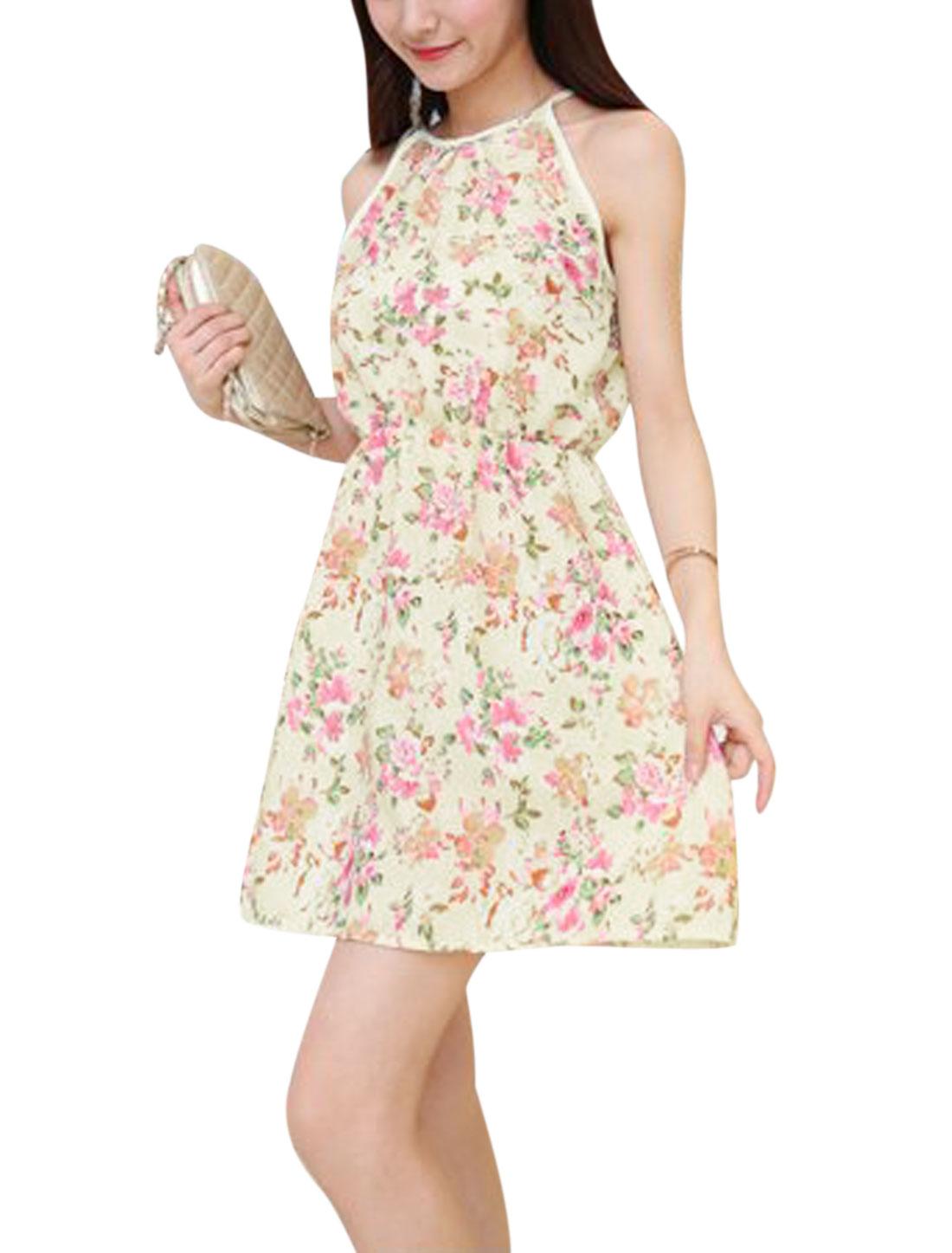 Ladies Halter Neck Sleeveless Flower Prints Unlined Sundress Beige XS