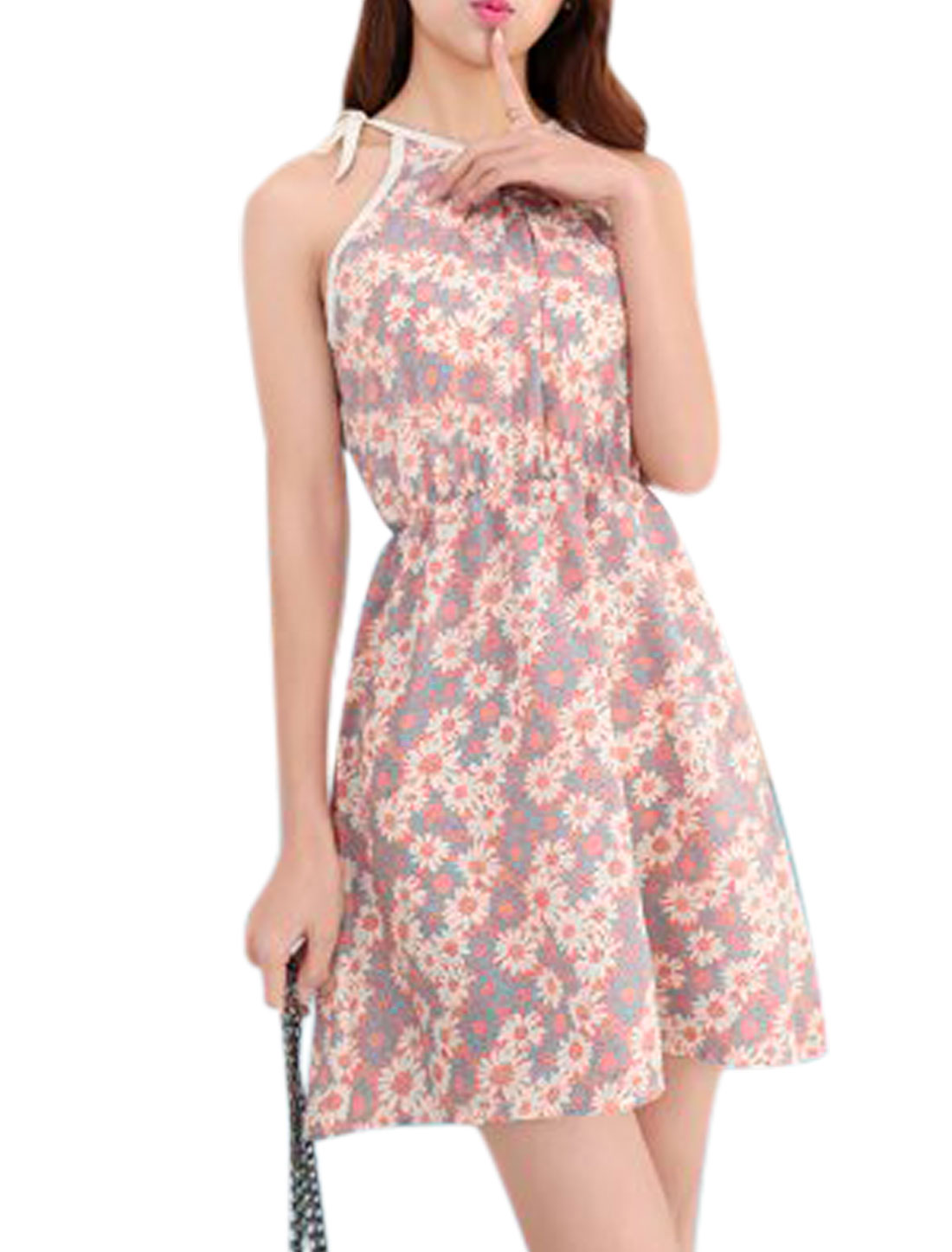Lady Halter Neck Sleeveless Flower Prints Leisure Sundress Salmon XS