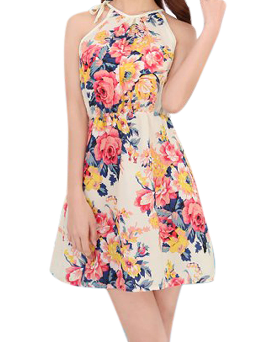 Ladies Cut Out Back Halter Neck Floral Pattern Unlined Dress Beige Red XS