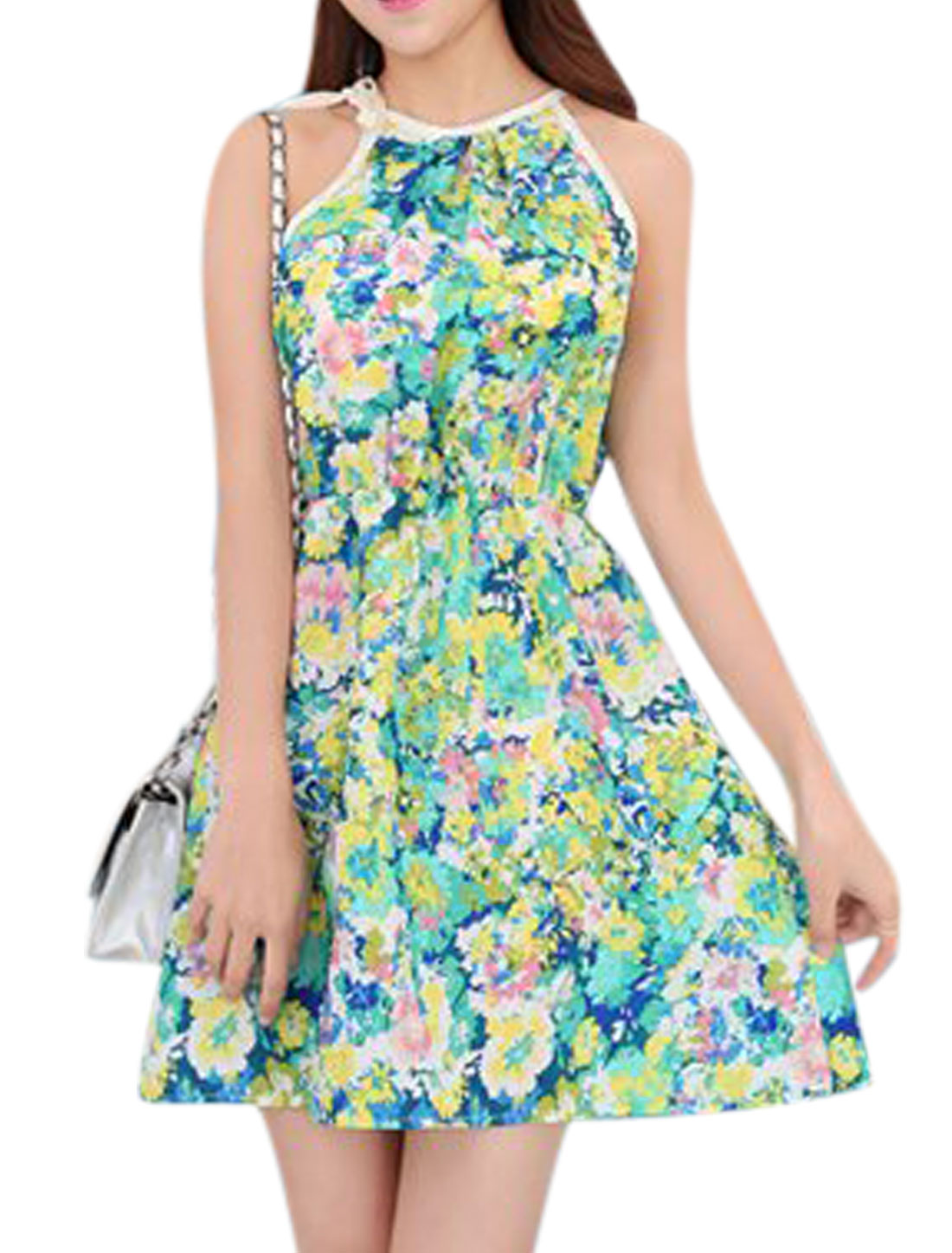 Ladies Halter Neck Sleeveless Self Tie Strap Casual Floral Dress Green XS