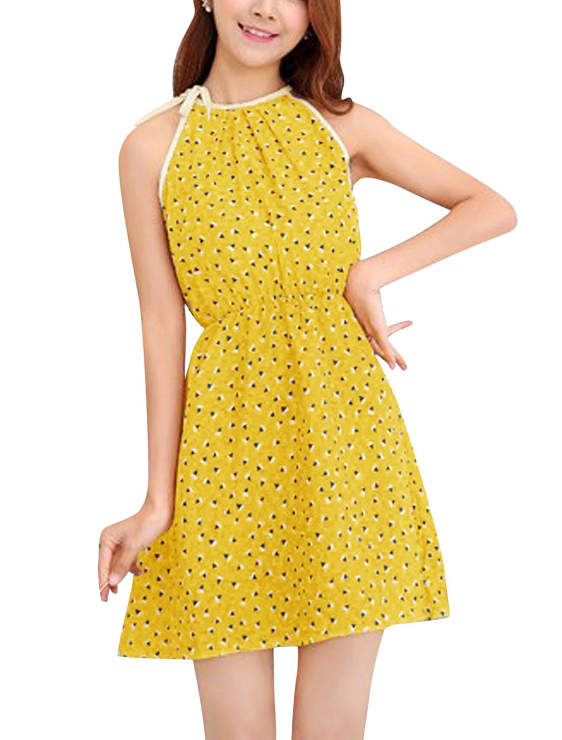 Women Cut Out Back Halter Neck Geometric Print Unlined Dress Curry XS