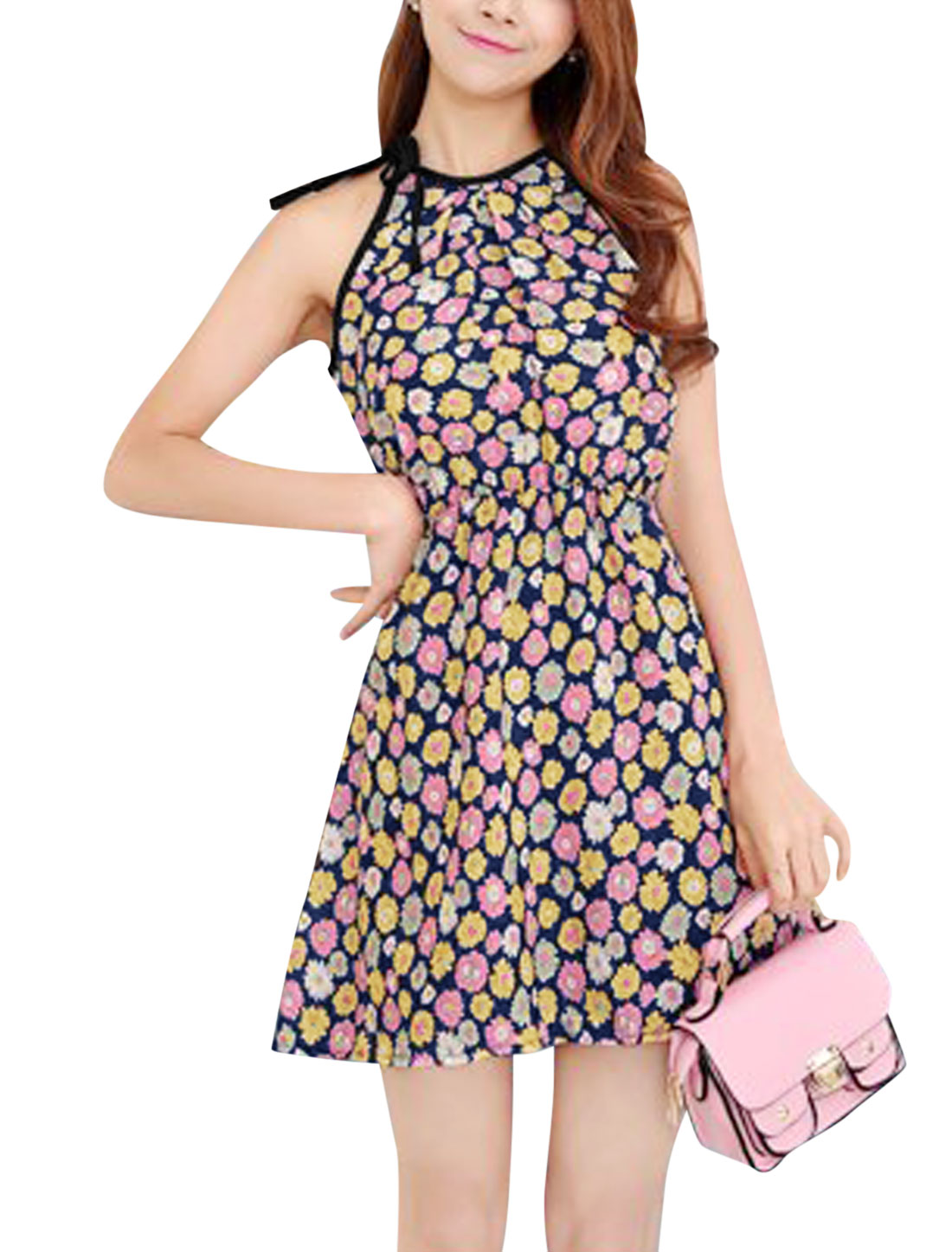 Women Cut Out Back Halter Neck Floral Print Dresses Navy Blue Yellow XS