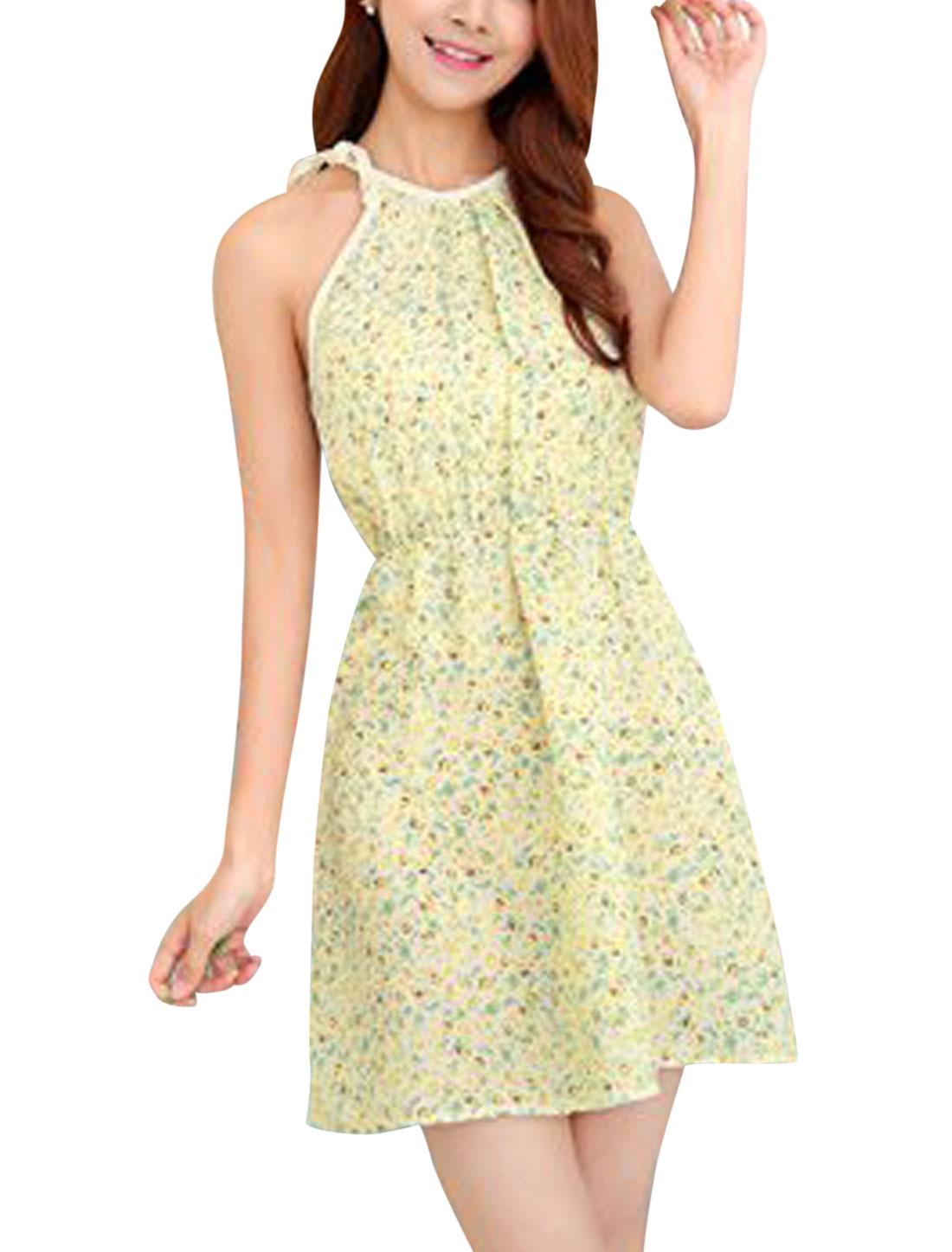 Women Cut Out Back Halter Neck Floral Print Summer Dress Beige Green XS