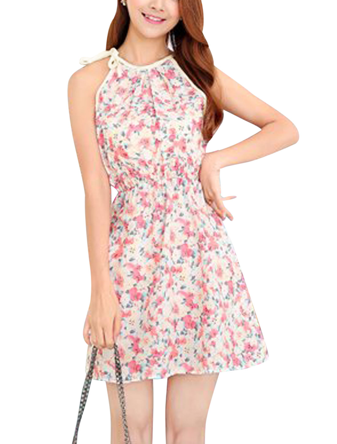 Women Cut Out Back Halter Neck Hearts Print Summer Dresses Beige Fuchsia XS
