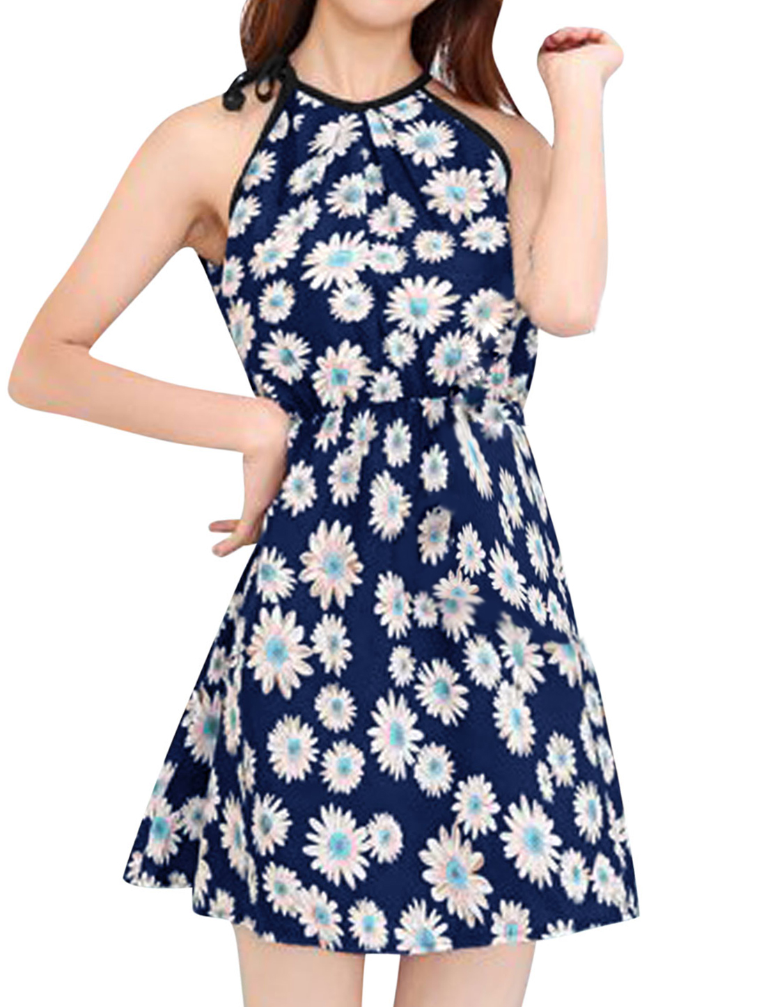 Women Cut Out Back Halter Neck Floral Pattern Beach Dresses Navy Blue White XS