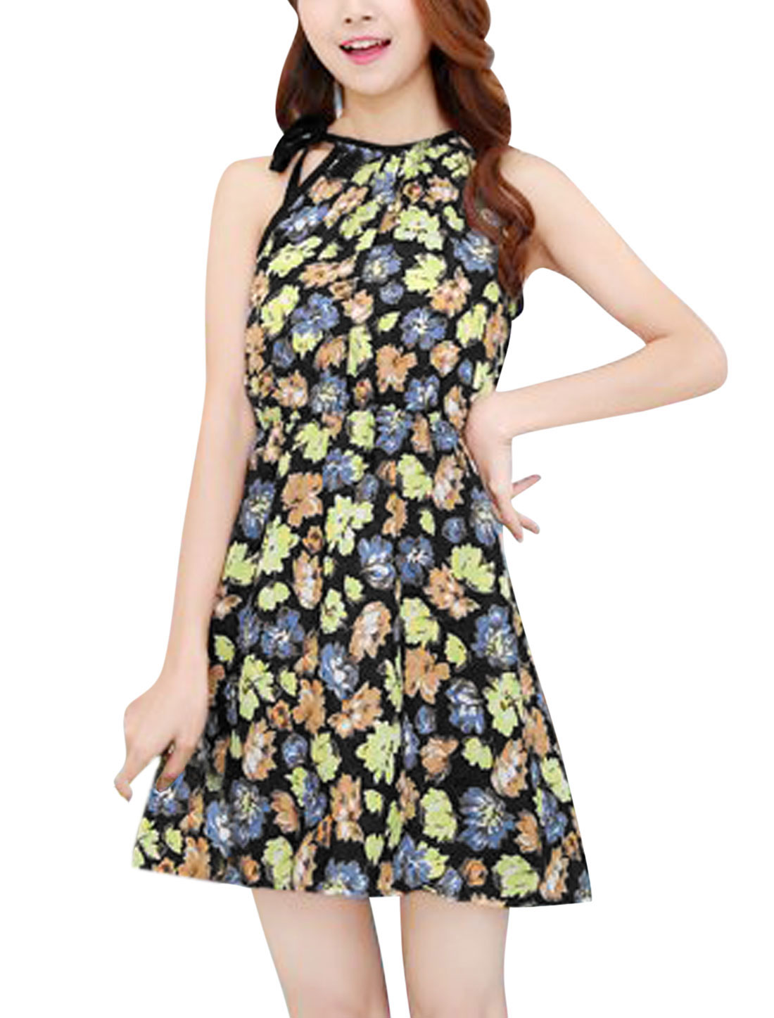 Women Cut Out Back Halter Neck Flower Pattern Casual Dress Black Yellow XS