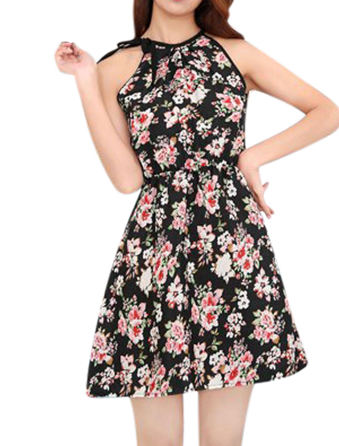 Ladies Halter Neck Sleeveless Elastic Waist Floral Prints Sundress Black XS