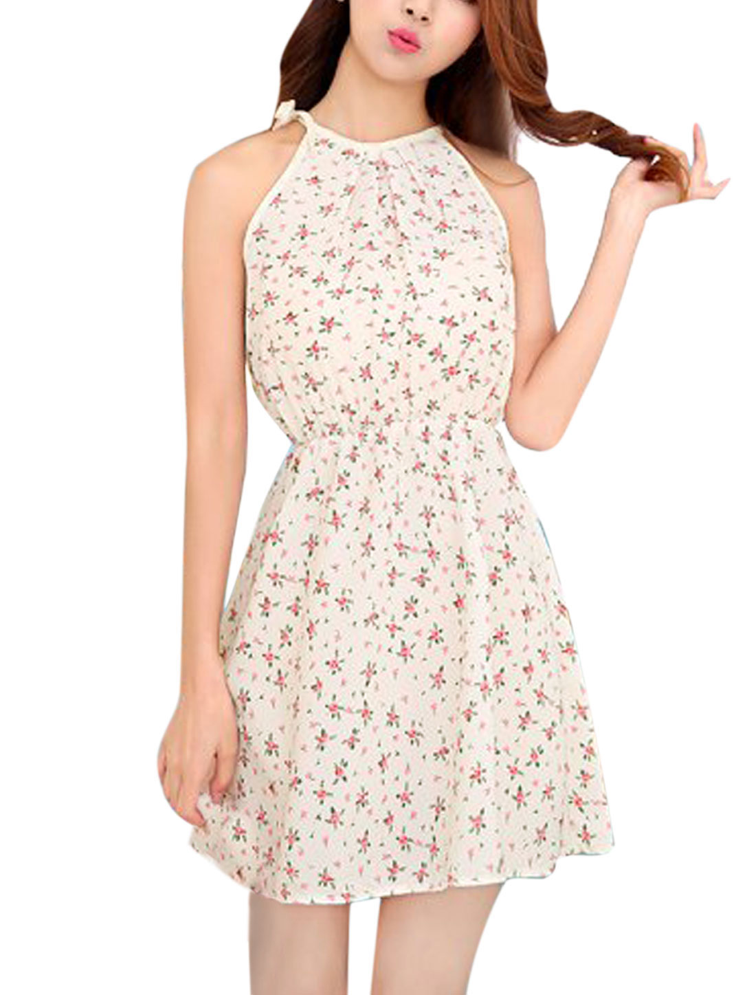 Ladies Cut Out Back Halter Neck Floral Prints Unlined Sundress Off White XS