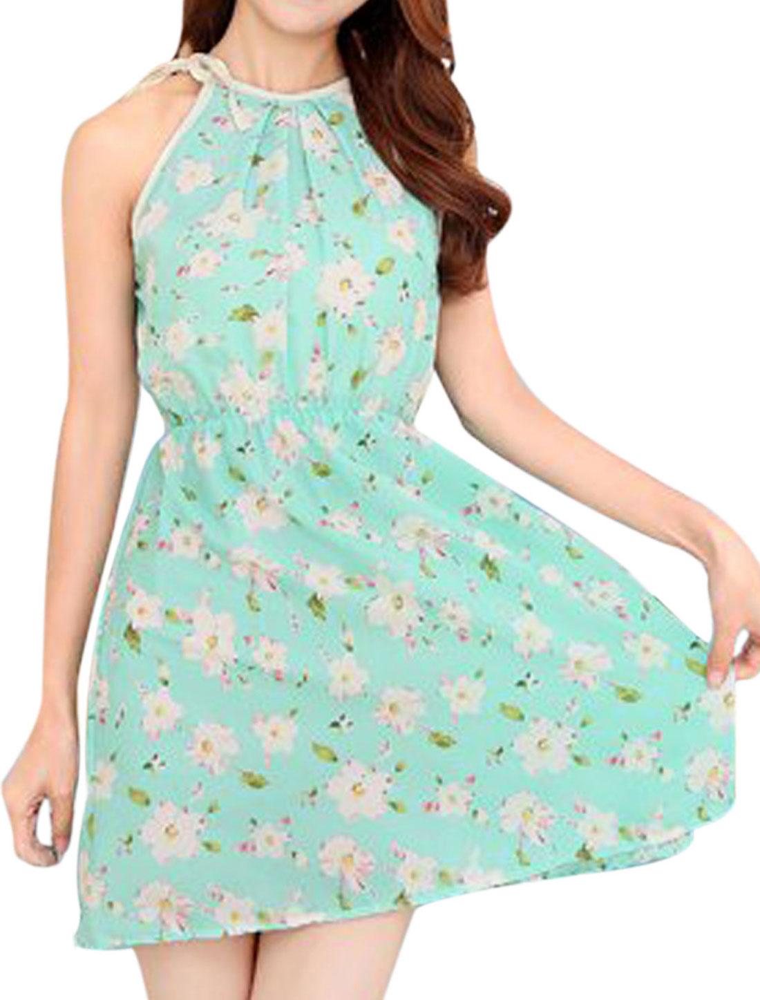 Ladies Floral Prints Cut Out Back Self Tie Detail A Line Dress Mint XS