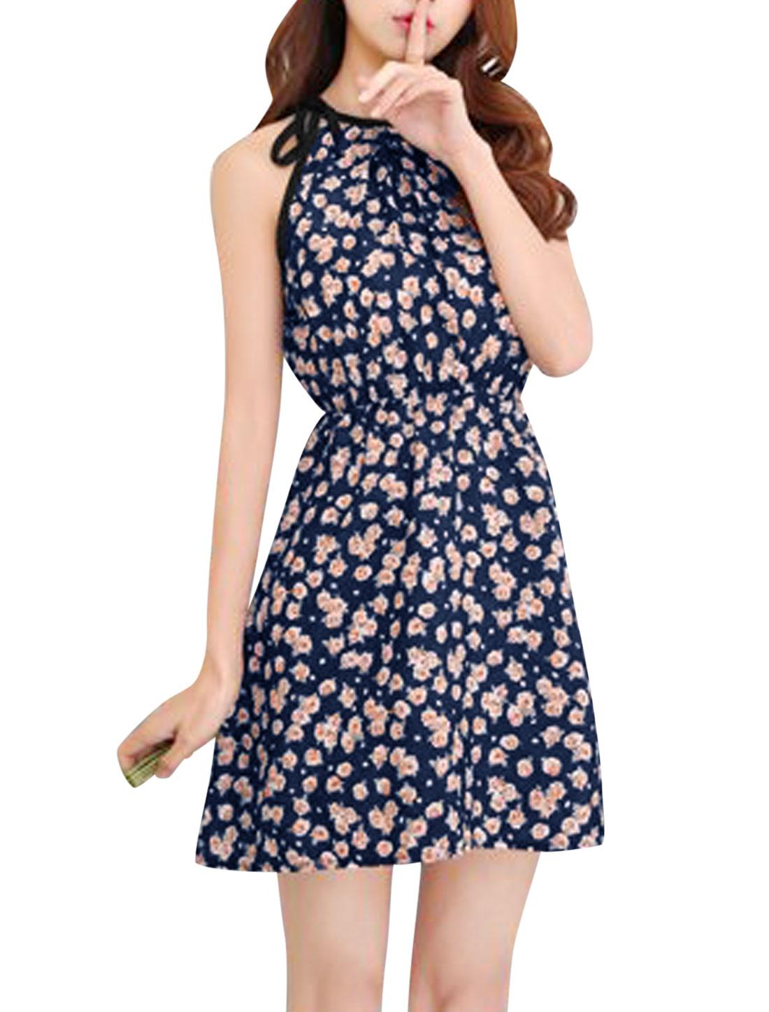Woman Flower Prints Halter Neck Selt Tie Detail Slipover A Line Sundress Navy Blue XS