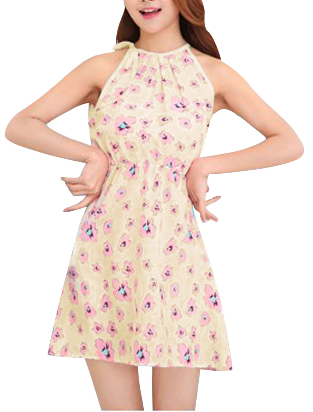 Lady Floral Prints Cut Out Back Slipover Unlined A Line Sundress Beige Pink XS