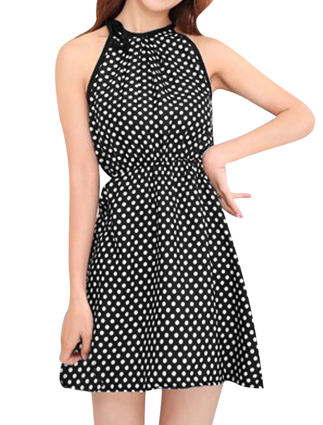 Lady Dots Prints Self Tie Detail Cut Out Back Casual Sundress Black White XS