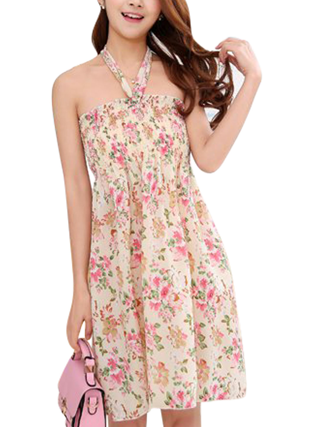 Lady Sleeveless Floral Prints Unlined Smocked Bust A-Line Dresses Beige S
